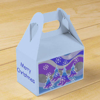 Winter Trees Blue favor Merry Christmas box Favour Box