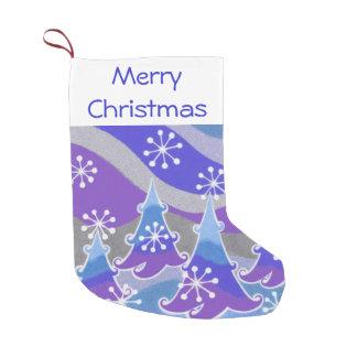 Winter Trees Blue Merry Christmas stocking