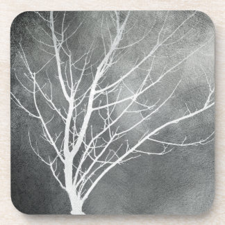 winter trees coaster gray and white original art