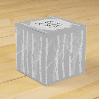 Winter Trees in Grey Wedding Favor Box Party Favour Boxes