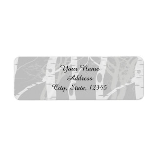 Winter Trees in Grey Wedding Label