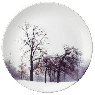 Winter Trees Porcelain Plate