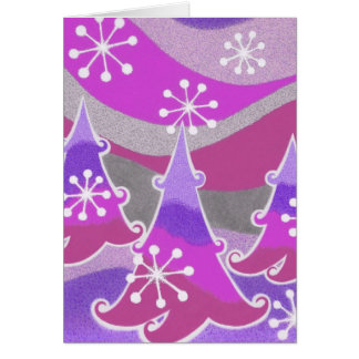 Winter Trees purple 'Happy Holidays'  vertical Card
