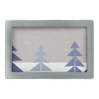 Winter trees rectangular belt buckle