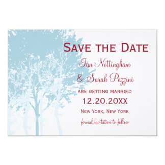 Winter Trees Save the Date Wedding Card