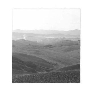 Winter Tuscany landscape with plowed fields Notepad