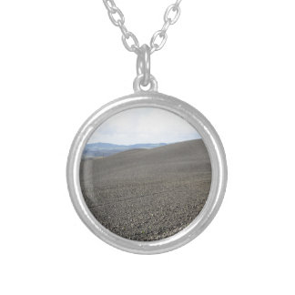 Winter Tuscany landscape with plowed fields Silver Plated Necklace