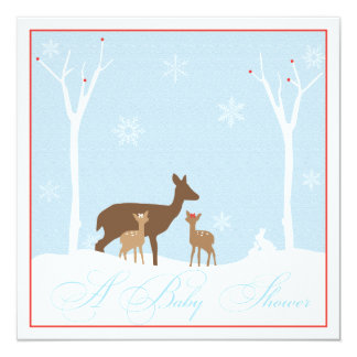 """Winter Twin Girl Deers Baby Shower Invitation 5.25"""" Square Invitation Card"""