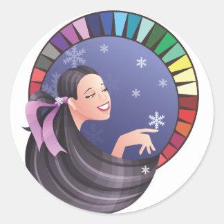 Winter type girl with palette round sticker