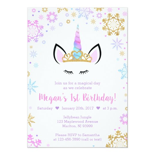Winter Unicorn Birthday Invitations