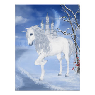 Winter Unicorn Poster
