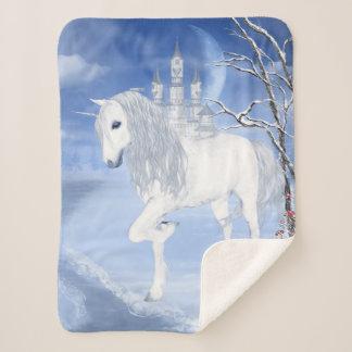 Winter Unicorn Small Sherpa Fleece Blanket