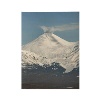 Winter view of active Avacha Volcano in Kamchatka Wood Poster