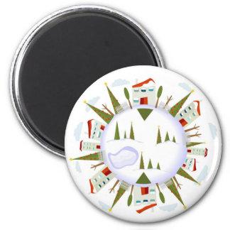 Winter Village 6 Cm Round Magnet
