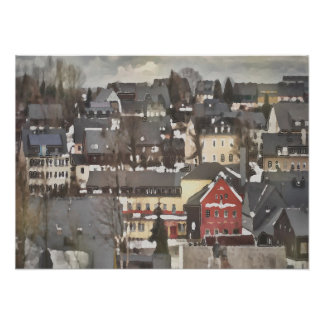 Winter Village with One Red House Digital Oil Poster
