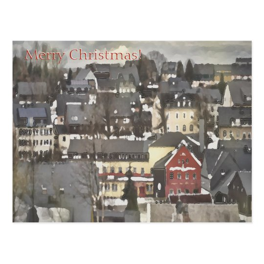 Winter Village with One Red House Merry Christmas Postcard