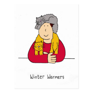 Winter warmers, cat scarf humour. postcard