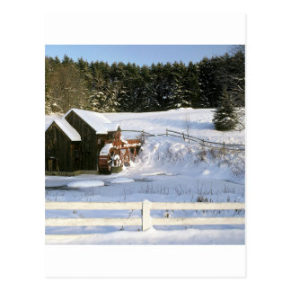 Winter Water Wheel Guildhall Vermont Postcard