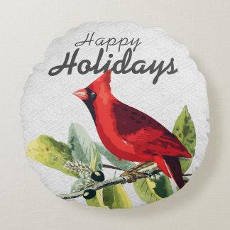 Winter Watercolor Cardinal Happy Holidays Round Cushion