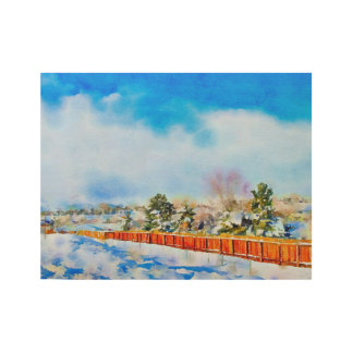 Winter Watercolor Landscape Reno, NV Wood Poster