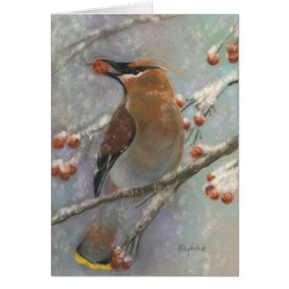 Winter Waxwing & Berries Greeting Card