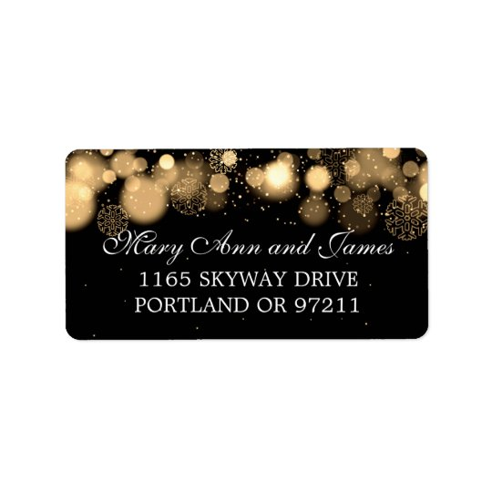 Winter Wedding Address Gold Lights Address Label