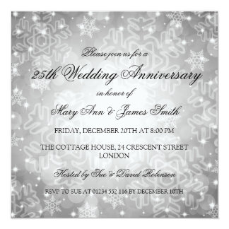 Winter Wedding Anniversary Festive Bokeh Silver Card