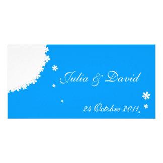 Winter wedding announcement melts blue customized photo card