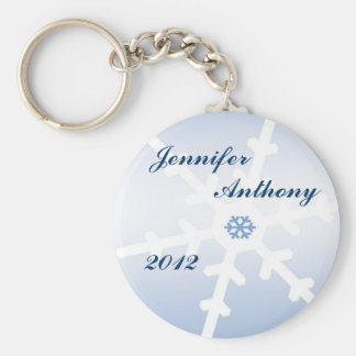 Winter Wedding Basic Round Button Key Ring