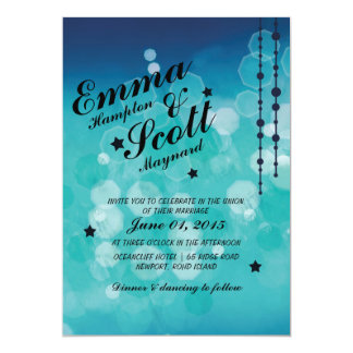 Winter wedding blue sparkly stars invitation