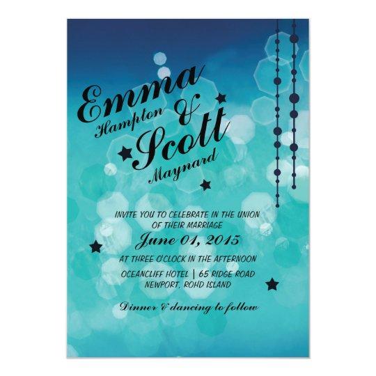 Winter wedding blue sparkly stars invitation