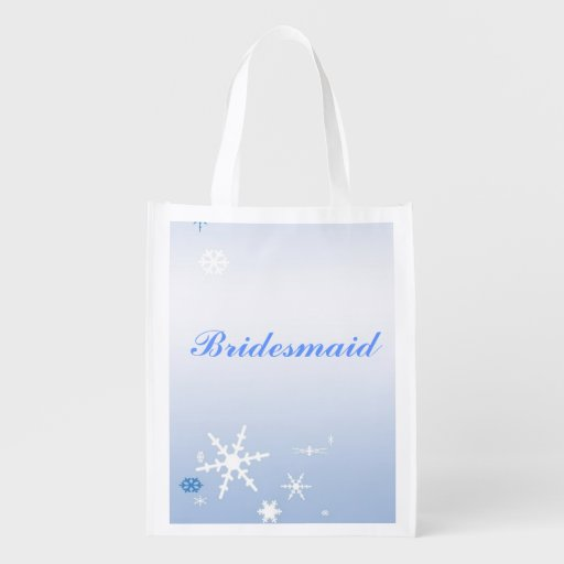 Winter Wedding Bridesmaid Tote Grocery Bags