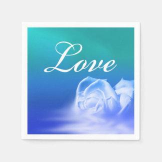 Winter Wedding Colors Love Rose Disposable Serviettes