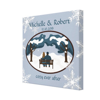 Winter Wedding Couple Custom Wrapped Canvas Stretched Canvas Print