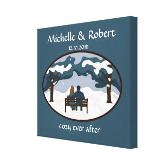 Winter Wedding Couple Cute Custom Wrapped Canvas