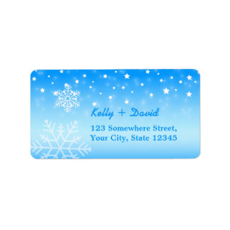 Winter Wedding Elegant Snowflakes Label