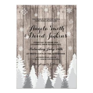 Winter Wedding Invitation Wood Forest Tree Rustic
