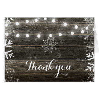 Winter Wedding Lights & Snowflakes Thank You Card