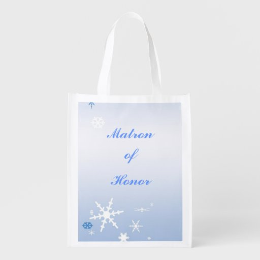 Winter Wedding Matron of Honor Tote Grocery Bags