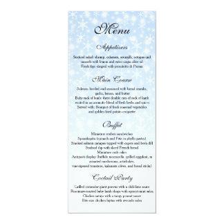 Winter Wedding menu, Snowflake Wedding Menu 10 Cm X 24 Cm Invitation Card