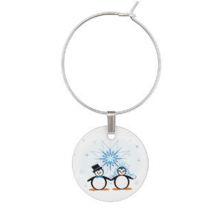 Winter Wedding Penguins Wine Glass Charms