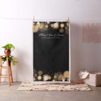 Winter Wedding Photo Backdrop Gold Lights
