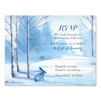 Winter Wedding RSVP Card Watercolor Trees Rabbits