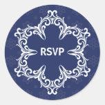 Winter Wedding RSVP Sticker in Navy