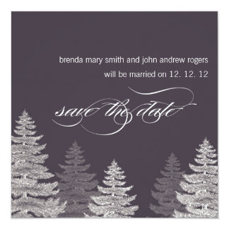 Winter Wedding Save the Date Cards Trees 13 Cm X 13 Cm Square Invitation Card