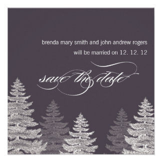 Winter Wedding Save the Date Cards Trees Personalized Announcement