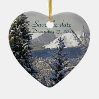 Winter Wedding Save the Date Ceramic Heart Decoration
