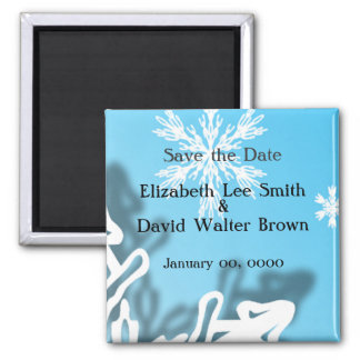 Winter Wedding Save the Date Snowflakes Magnet