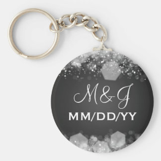 Winter Wedding Save The Date Sparkling Night Black Basic Round Button Key Ring