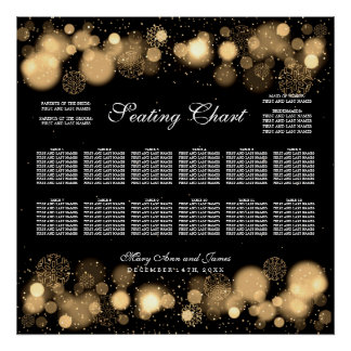 Winter Wedding Seating Chart Gold Lights Poster